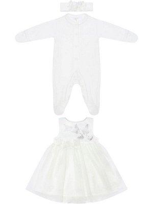 """Комплект на выписку """"Бабочка"""" комбинезон и платье (молочное с молочной юбкой)"""