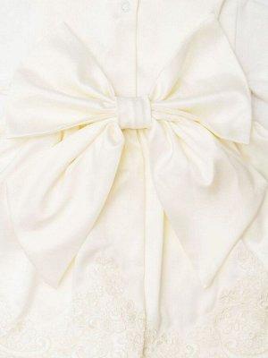 """Комплект на выписку """"Принцесса"""" Русский Сатин комбинезон и платье (молочное с молочным кружевом)"""