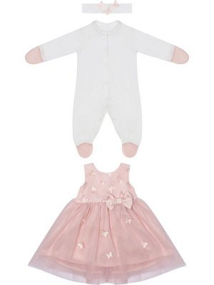 """Комплект на выписку """"Бабочка"""" комбинезон и платье (розовое с розовой юбкой)"""
