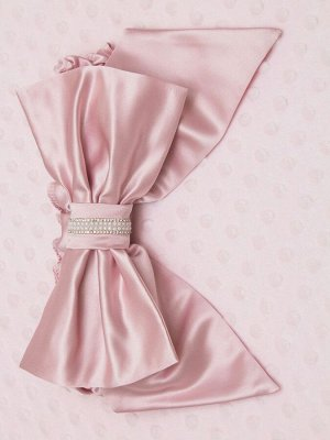 """Плед трикотажный розовый """"Роскошь"""" стразы, бант"""