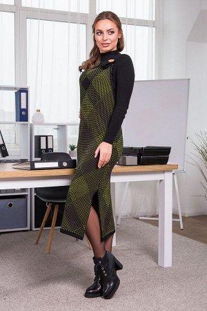 Теплое платье-сарафан в клетку Хлоя (черный, салат, капучино)