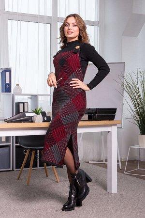 Теплое платье-сарафан в клетку Хлоя (черный, графит, вишня)