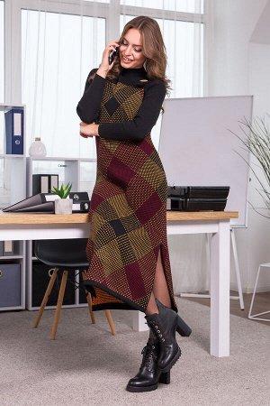 Теплое платье-сарафан в клетку Хлоя (черный, вишня, горчица)