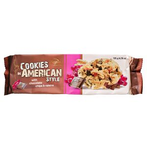 Печенье печенье Bogutti AMERICAN STYLE шоколадная крошка/изюм 135 г  Крошка: тёмный шоколад 10% + изюм 5%