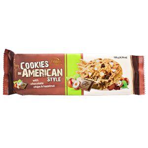 Печенье печенье Bogutti AMERICAN STYLE шоколадная крошка/фундук 135 г  Крошка: тёмный шоколад 10% + фундук 5%