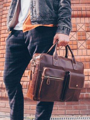 Мужская кожаная сумка под ноутбук, через плечо