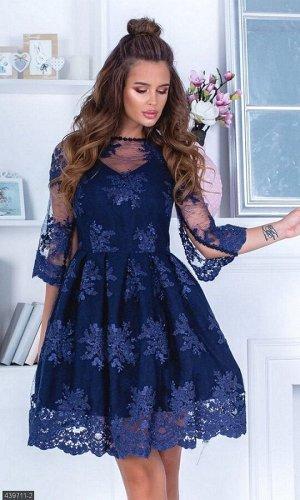 Платье 439711-2 синий Весна 2019 Украина