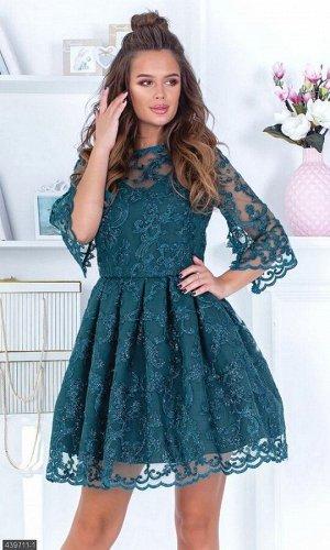 Платье 439711-1 зеленый Весна 2019 Украина