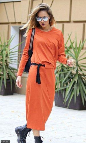 Платье 440430-1 оранжевый Осень 2019 Украина