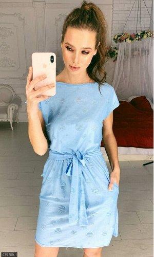 Платье 439789-1 голубой Весна 2019 Украина