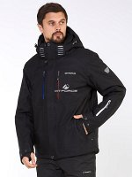 Мужская зимняя горнолыжная куртка большого размера черного цвета
