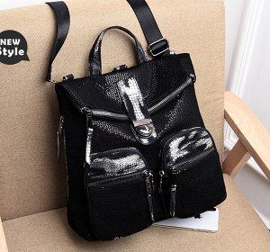 Сумка-рюкзак, серебро