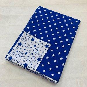 Пододеяльник полуторный комбинированный Т.синий, Звезда мал/Белый, синий звездопад