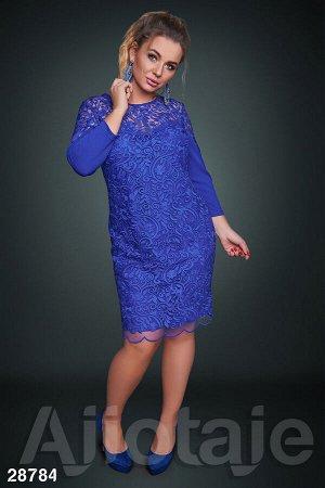 Платье миди цвета электрик с гипюровым кружевом