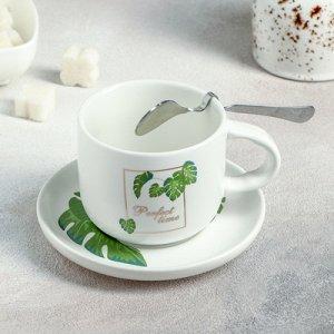 """Набор чайный 3 предмета """"Папоротник"""": чашка 220 мл, блюдце, ложка"""