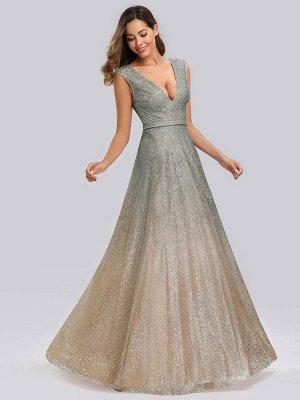 Элегантное серебрянное вечернее длинное платье с V-образным вырезом из блестящей ткани с эффектом омбре