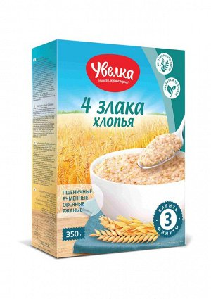 Увелка хлопья 4 злака с пшеничн. отрубями 350г 1/6, шт