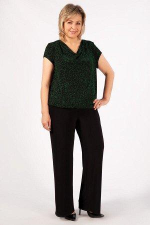 топ Черный/фиолетовый, . Нарядная блуза, выполнена из трикотажного полотна с добавлением люрексовой нити. С коротким маленьким рукавчиком. Горловина декорирована качелями. Низ блузы на манжете.  Соста