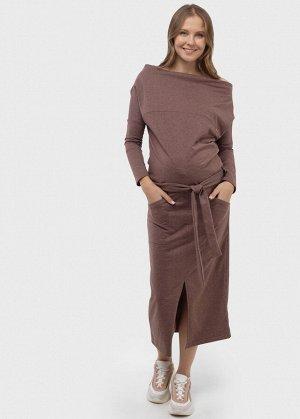 """Платье """"Севара"""" для беременных и кормящих; цвет: кофейный меланж"""