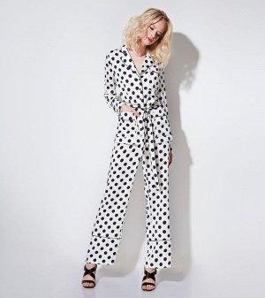 Костюм молодежный в пижамном стиле жакет и брюки