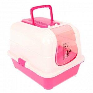 Туалет-домик большой с фильтром, совком и порожком, 51,5 х 40 х 38,5 см, розовый/белый
