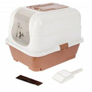 Туалет-домик с выдвижным поддоном, сеткой, совком, порожком, 51,5 х 40 х 38 см, коричневый