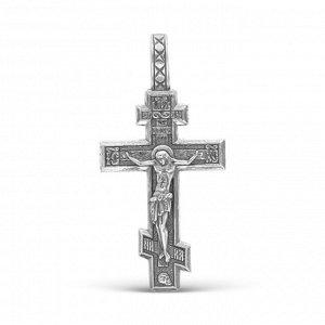 Крест нательный шестиконечный, посеребрение