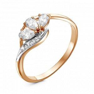 """Кольцо """"Клевер"""", позолота, цвет белый, 17 размер"""