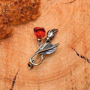 """Брошь """"Янтарь"""" роза с бутоном, цвет коньячный в бронзе"""