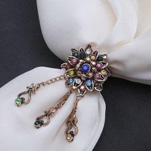 """Кольцо для платка """"Цветок"""" с подвесками, разноцветное в чернёном золоте"""