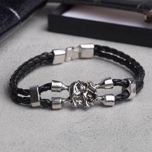 """Браслет мужской """"Денджер"""" слон, цвет чёрный в серебре, L=21,5 см"""