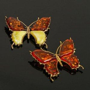 """Брошь """"Янтарь"""" бабочка большая в бронзе"""