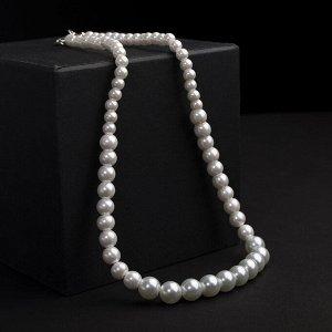 """Бусы жемчуг """"Невеста"""" бусины разного размера d=0,5-1, цвет белый, 45 см"""