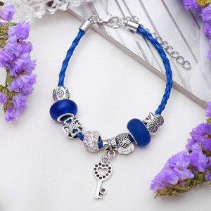 """Браслет ассорти """"Марджери"""" бусины с ключиком, цвет бело-синий в серебре, L=19 см"""