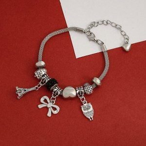 """Браслет ассорти """"Марджери"""" романтик, сова, цвет чёрный в серебре,L=18см"""