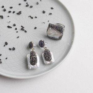 """Гарнитур 2 предмета: серьги, кольцо, вечерний """"Жемчуг"""" слои, безразмерное"""