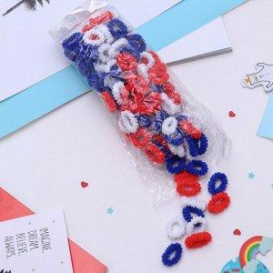 """Резинка для волос """"Махрушка"""" (набор 144 шт) красные, белые, синие"""