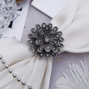"Кольцо для платка ""Цветок"" пион, цвет серый"