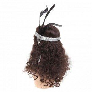 Повязка на голову «Ретро», с перьями и бусинами