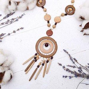 """Кулон ручная работа, деревянный """"Тайган"""", цвета микс, 70см"""