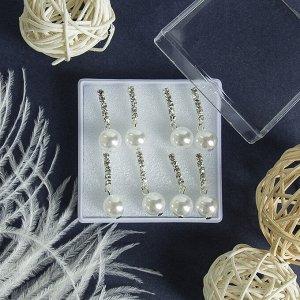 """Пусеты в коробочке набор 4 пары """"Люмион"""" одна дорожка, цвет белый в серебре"""