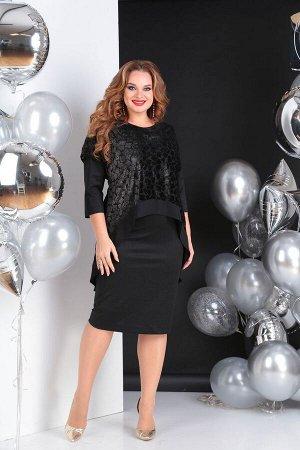 Накидка, платье SandyNa Артикул: 13651 черный_бархат