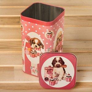 Банка для сыпучих продуктов Рязанская фабрика жестяной упаковки «Щенки розовые», 1,4 л, прямоугольная