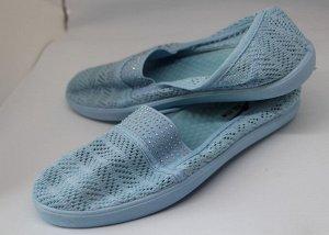 Слипоны* 37 размер - 23,5 см.  Материал верха: Текстиль,   Материал подкладки: Текстиль,   Материал стельки: Текстиль  Цвет: Голубой