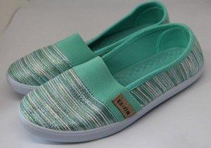 Слипоны* 37 размер - 23,5 см.   Материал верха: Текстиль,   Материал подкладки: Текстиль,   Материал стельки: Текстиль  Цвет: Зеленый