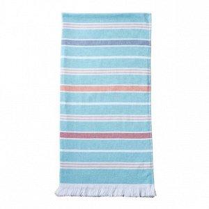 Полотенце Большое полотенце белого цвета с темно-синими полосками и декоративной бахромой отлично впитывают влагу благодаря махровой поверхности с одной стороны. Идеально подойдет для сауны, бассейна
