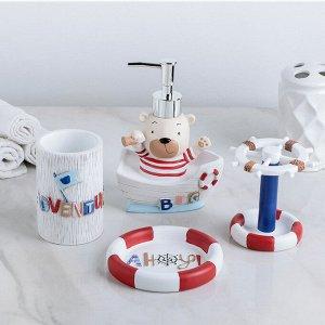 Набор аксессуаров для ванной комнаты «Приключения», 4 предмета (дозатор 150 мл, мыльница, 2 стакана)