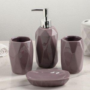 Набор аксессуаров для ванной комнаты «Изящный стиль», 4 предмета (дозатор 400 мл, мыльница, 2 стакана), цвет МИКС