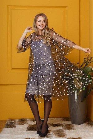 Костюм Костюм Anastasia 376 розовые блестки  Рост: 164 см.  Комплект женский, 2-х предметный: верхнее и нижнее платья. Верхнее платье -из сетки,с вышивкой в ромашки,окантованное шифоном. Платье свобо