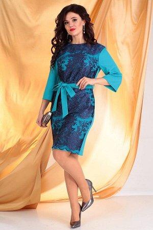 Платье Платье Мода Юрс 2529 бирюза+синий  Состав ткани: ПЭ-95%; Спандекс-5%;  Рост: 164 см.  Контраст цвета - это всегда ярко и выразительно! Платье женское полуприлегающего силуэта. Спинка со средни